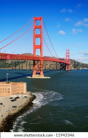 Golden Gate Bridge and Fort Point - portrait (vertical) orientation. - stock photo