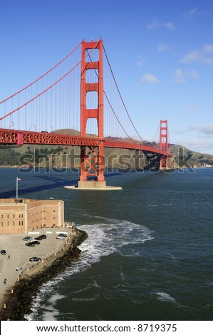 Golden Gate Bridge and Fort Point - portrait (vertical) orientation.