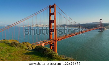 Golden Gate bridge and San Francisco seen from Battery Spencer,