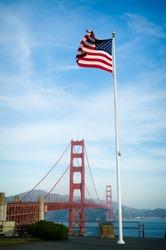 Golden Gate Bridge and US Flag