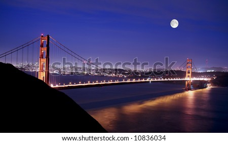 the golden gate bridge at night. stock photo : Golden Gate