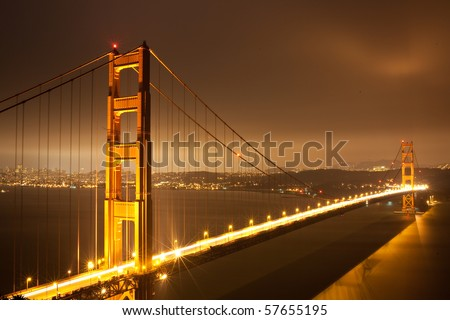 san francisco golden gate bridge at night. stock photo : Golden Gate