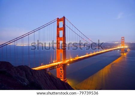 Golden Gate Bridge at Night with San Francisco Skyline, long exposure