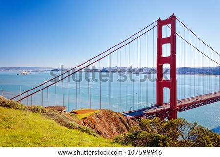 Golden Gate Bridge at sunny day - stock photo