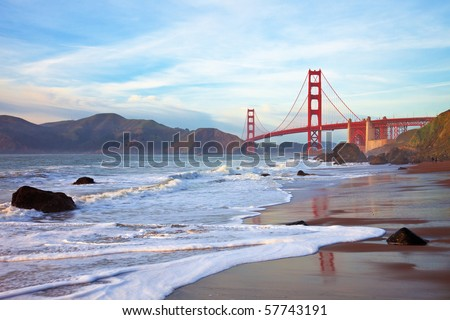 Golden Gate Bridge at Sunset Seen from Marshall Beach, San Francisco.