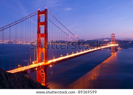 Golden Gate bridge at twilight. San Francisco, USA.