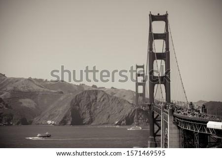 Golden Gate Bridge Black and White Sepia Tone.