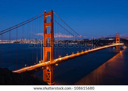 Golden Gate bridge by night in San Francisco - USA - stock photo