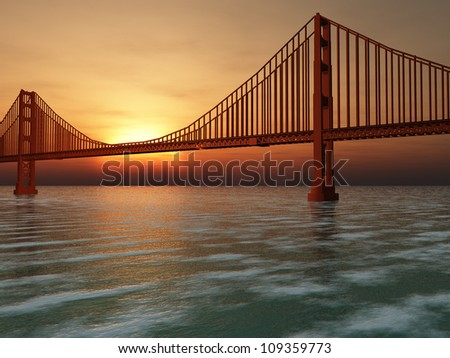 Golden Gate Bridge 3D Illustration