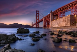 Golden Gate Bridge during sunset new San Fransisco, USA