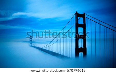 Golden Gate Bridge Foggy Scenery #570796015