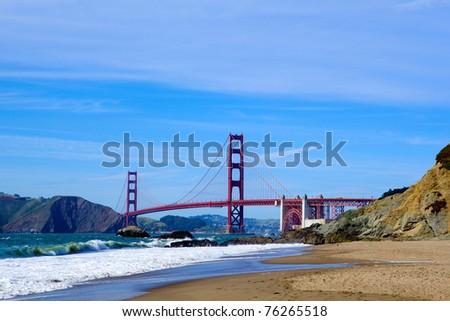 Golden Gate Bridge from Baker Beach, San Francisco, USA