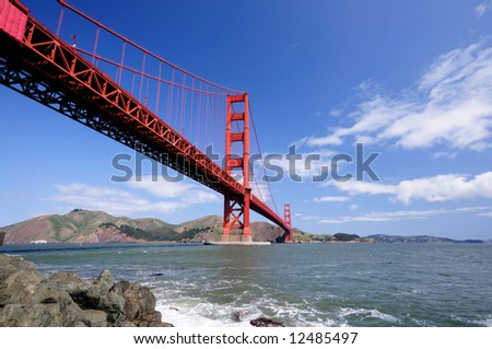 Golden Gate Bridge from Fort Point on a clear spring morning - landscape orientation.