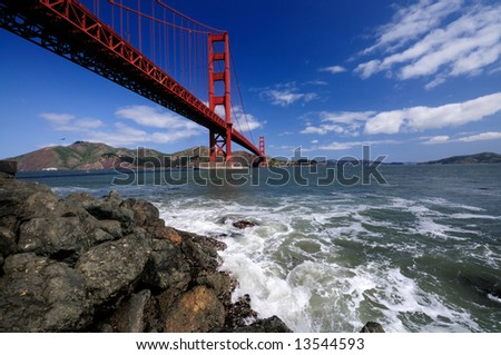 Golden Gate Bridge from Fort Point shot with a very wide angle lens on a wonderful spring morning.