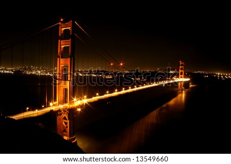 Golden Gate Bridge glows in lights. San Francisco, California, USA