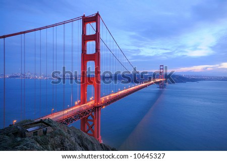 Golden Gate Bridge glows in the evening