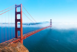 Golden Gate Bridge high angle view from Marin Headland side