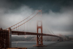 Golden Gate Bridge in a cloudy day.