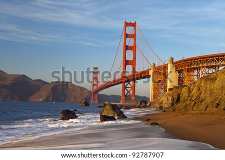 Golden Gate Bridge in San Francisco California at sunset.