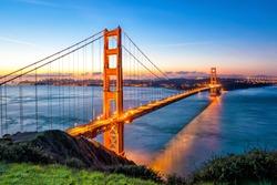 Golden Gate Bridge in San Francisco, California USA at sunrise