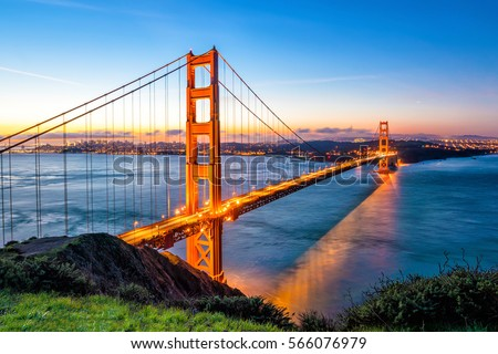 Golden Gate Bridge in San Francisco, California USA at sunrise #566076979