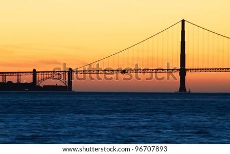 Golden Gate Bridge in San Francisco, California, USA at sunset from Treasure Island