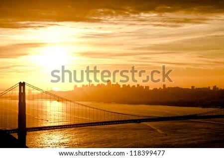 Golden Gate Bridge in San Francisco during sunrise