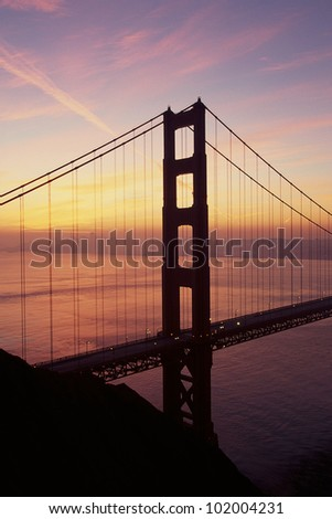 Golden Gate Bridge in waning twilight, CA