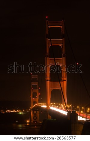 Golden Gate Bridge is a suspension bridge spanning the Golden Gate, the opening of the San Francisco Bay onto the Pacific Ocean