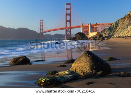 Golden Gate Bridge is shown on sunset , San Francisco, California