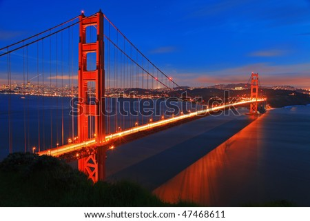 golden gate bridge at night wallpaper. stock photo : Golden Gate