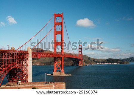 Golden Gate Bridge on a sunny spring morning. Shot from the Fort Point viewpoint.