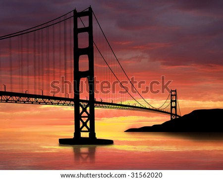 golden gate bridge sunset. stock photo : Golden Gate