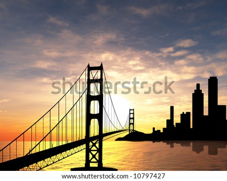 Golden Gate Bridge over sunset