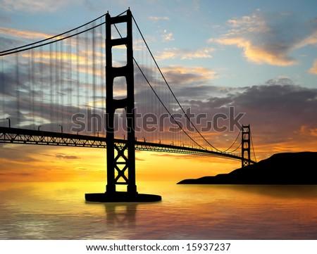 golden gate bridge sunset. stock photo : Golden Gate