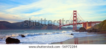 Golden Gate Bridge Panorama Seen from Marshall Beach, San Francisco.