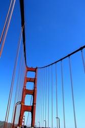 Golden Gate Bridge Pillar in San Francisco, California, USA.