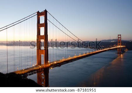Golden Gate Bridge right before sunrise, San Francisco, California - stock photo