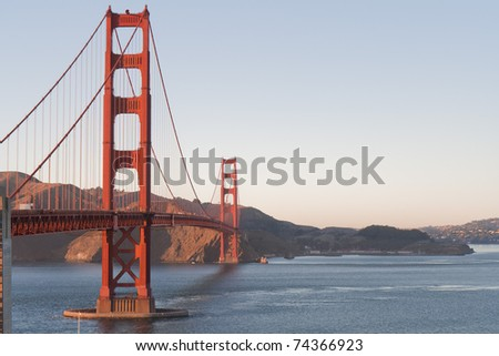 Golden Gate bridge San Francisco at late afternoon with the surrounding bay, copyspace