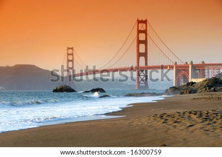 Golden Gate Bridge, San Francisco at sunset