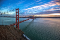 Golden Gate Bridge, San Francisco CA USA. Sunset sky at San Francisco, California
