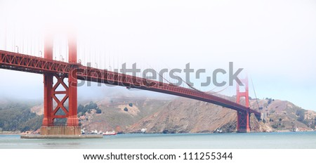 Golden Gate Bridge, San Francisco, USA on foggy day.