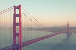 Golden Gate Bridge, San Francisco, USA. Vintage style