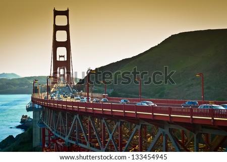 Golden Gate bridge seen from Vista Point, Sausalito, California, USA