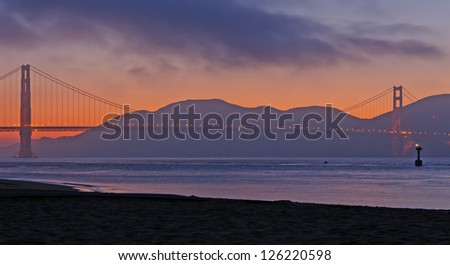 Golden Gate Bridge silhouetted at Late Evening
