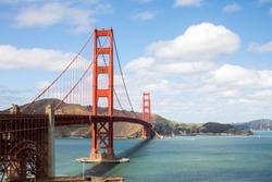 Golden gate bridge sunny horizontal image in San Francisco, California.