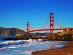 Golden Gate Bridge view from Baker Beach just before sunset.