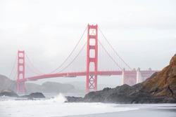 Golden Gate Bridge view from baker Beach, San Francisco, California.