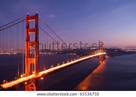 Golden Gate Bridge with San Francisco city in the background at twilight with light trail from the car on the bridge