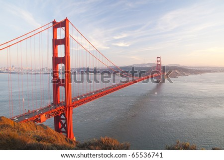 Golden Gate Bridge with San Francisco city in the background before the sunset